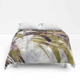 Crocosmia Shimmer in Ivory Gold Pink Comforters