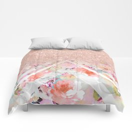 Modern rose gold glitter ombre floral watercolor white marble triangles Comforters