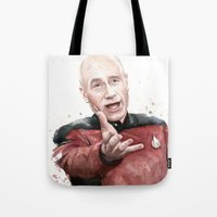 meme Tote Bags featuring Annoyed Picard Meme  by Olechka