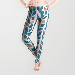 Mid Century Modern Minimalist Leaf Pattern of Stripes in Terracotta Orange and Turquoise Teal Blue Leggings