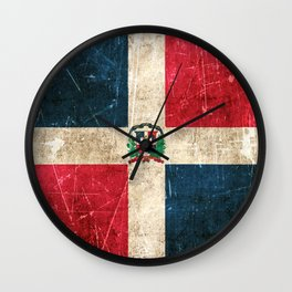Vintage Aged and Scratched Dominican Flag Wall Clock