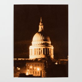St Paul's Cathedral in Sepia & Dry Brush Effect Poster
