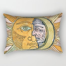 Sun and Moon Face Rectangular Pillow