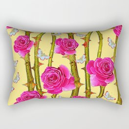 WHITE BUTTERFLIES & CERISE PINK ROSE THORN CANES YELLOW Rectangular Pillow