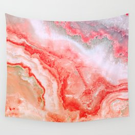 Luxury LIVING CORAL Agate Marble Geode Gem Wall Tapestry
