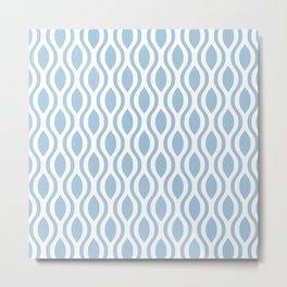 Retro Ogee Pattern 454 Blue Metal Print