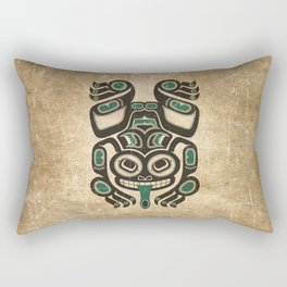 Teal Blue and Black Haida Spirit Tree Frog Rectangular Pillow