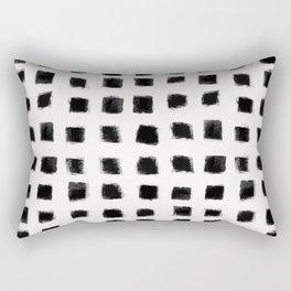 Polka Strokes - Black on Off White Rectangular Pillow