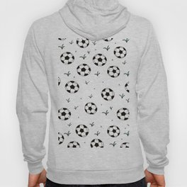 Fun grass and soccer ball sports illustration pattern Hoody