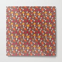 Doodle Mushroom - Fall Pattern Metal Print