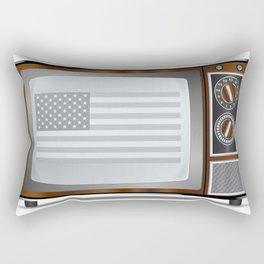 Patriotic Black And White Television Rectangular Pillow