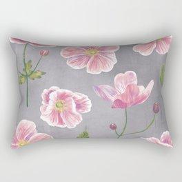 Japanese Anemone Flower Painting Rectangular Pillow