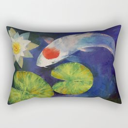 Tancho Koi and Water Lily Rectangular Pillow