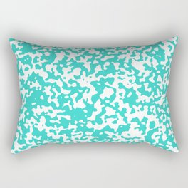 Small Spots - White and Turquoise Rectangular Pillow