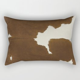 Dark Brown & White Cow Hide Rectangular Pillow