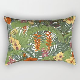 Tropical flowers and leaves Rectangular Pillow