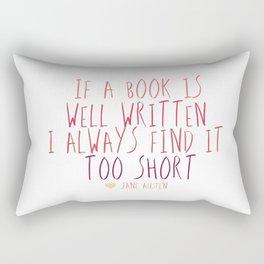 jane austen book quote Rectangular Pillow