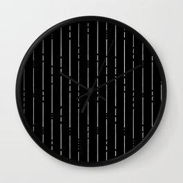 Broken Lines // Vertical White on Black Wall Clock
