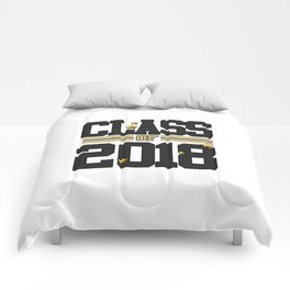 class of 2018 graduation grade senior 2018 new student love art gold hot Comforters