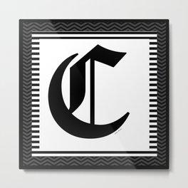 MONOGRAM C BLACK AND WHITE Metal Print