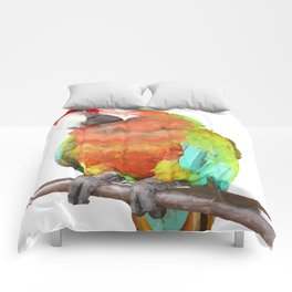 Vector Style Harlequin Macaw On A Perch Comforters