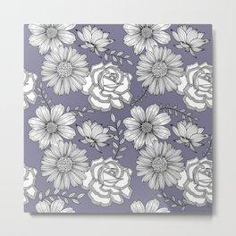 Flowers Line Art - Lavender Metal Print