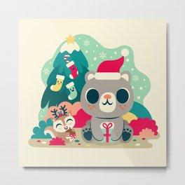 Holiday Woodland Bear / Cute Animal Metal Print