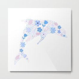 Floral composition in a Dolphin Shape Metal Print