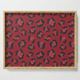 Strawberry Leopard Print Pattern Serving Tray