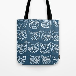Blue and White Silly Kitty Faces Tote Bag