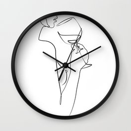 dame ivre-Girl with wine glass  Wall Clock