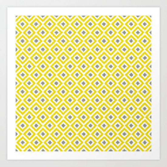 Yellow and Gray Diamonds Ikat Pattern Art Print