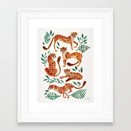 Cheetah Collection – Orange & Green Palette Framed Art Print