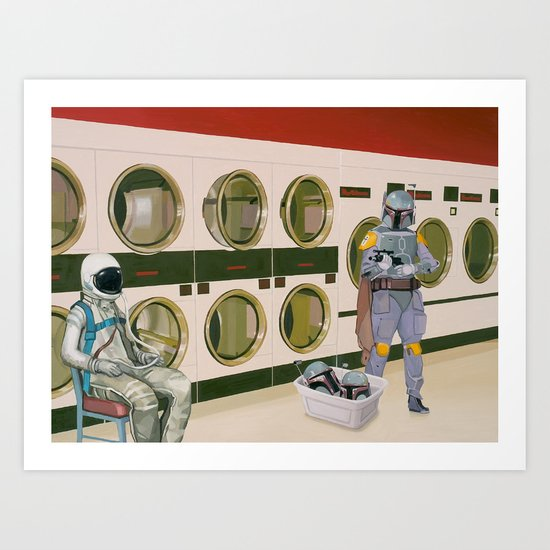 In the Laundromat with Boba Fett Art Print