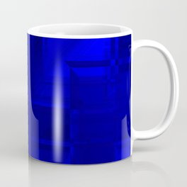 Metallic pattern of sapphire squares with hazy texture wrapping frames.  Coffee Mug