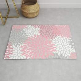 Floral Prints, Pink, White and Grey, Coloured Prints Rug