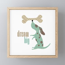 Dream Big Dog with Bone Framed Mini Art Print