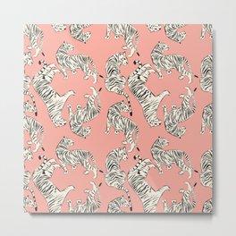 Pink Tiger Pattern 006 Metal Print