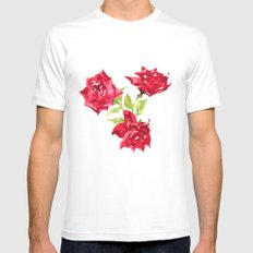 Three Red Roses Mens Fitted Tee White MEDIUM