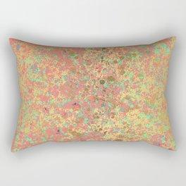 Living Coral, Turquoise and Patina Gold Design Rectangular Pillow
