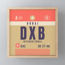 Retro Airline Luggage Tag - DXB Dubai UAE Framed Mini Art Print