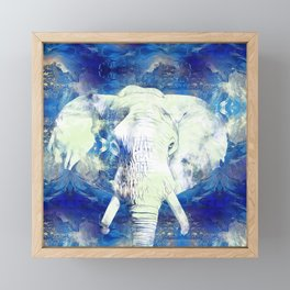 Blue marble water White Elephant Digital art Framed Mini Art Print
