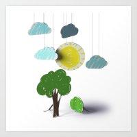 Sunny Day 3D Paper Craft Art Print