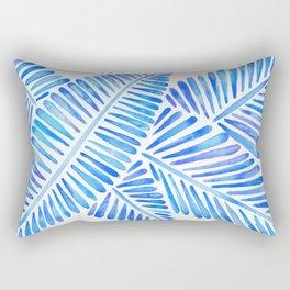 Tropical Banana Leaves – Blue Palette Rectangular Pillow