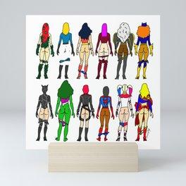 Superhero Butts - Girls - Row Version - Superheroine Mini Art Print