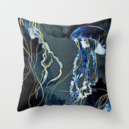 Metallic Ocean III Throw Pillow