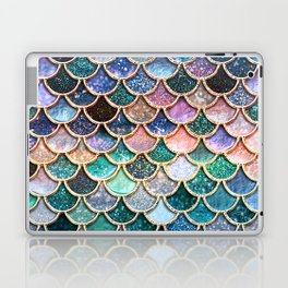 Multicolor Pink And Aqua Mermaid Scales - Beautiful Abstract Glitter Pattern Laptop & iPad Skin
