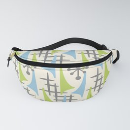Mid Century Modern Atomic Wing Composition 92 Blue Chartreuse and Gray Fanny Pack