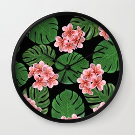 Tropical Floral Print Black Wall Clock