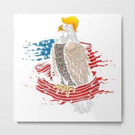Skull with iconic Trump Hair Eagle president Flag America Tees Metal Print